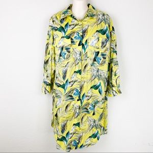 ZARA Tropical Button Down Shirt Dress Tunic Top
